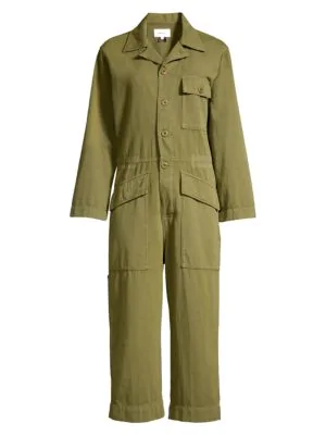 Current Elliott The Richland Cotton And Linen-blend Jumpsuit In Army Green