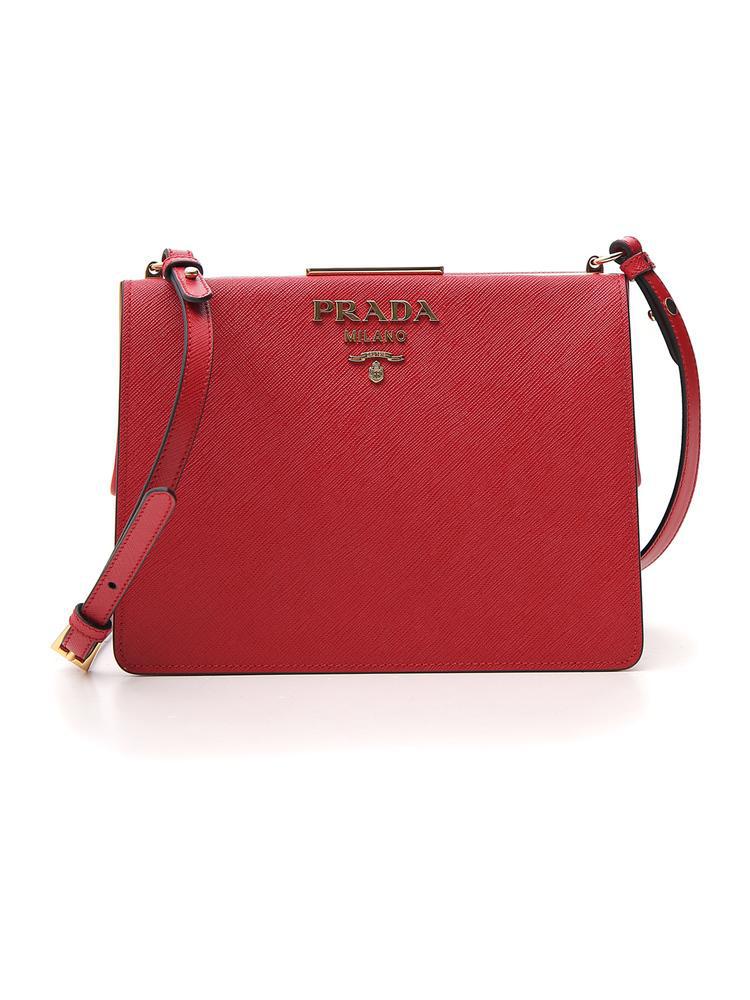 51ba76221a37 Prada Light Frame Zipped Shoulder Bag In Red | ModeSens