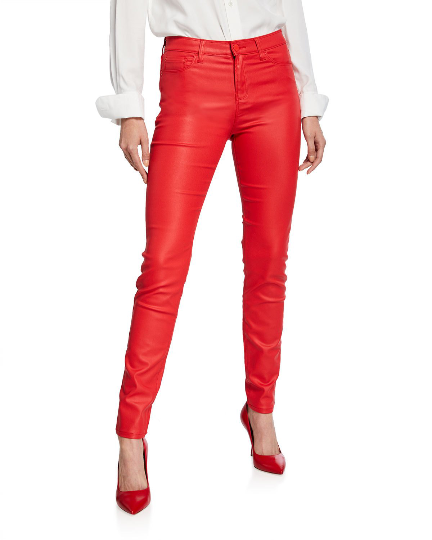 68d406cef9 High-Waist Skinny Waxed Denim Jeans in Red