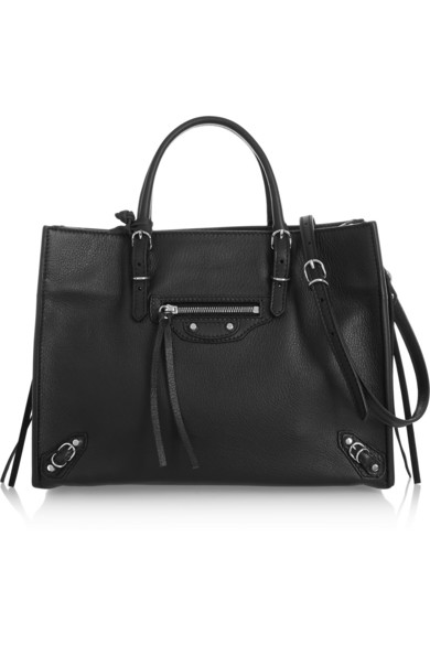 Balenciaga Papier A6 Zip Around Textured-Leather Shoulder Bag In Black