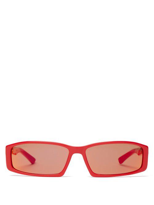Balenciaga - Neo Rectangular Acetate Sunglasses - Mens - Red