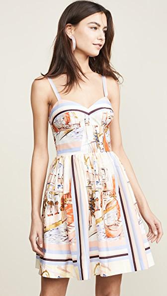 Amanda Uprichard Champagne Dress In Venetian Print