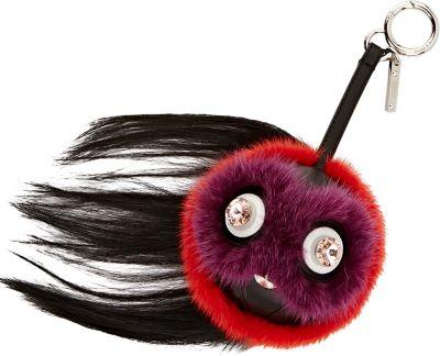 Fendi Monster Fur Charm W/Beak, Orange Multi