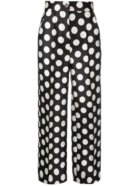 Dice Kayek High-waisted Polka Dot Trousers In Black