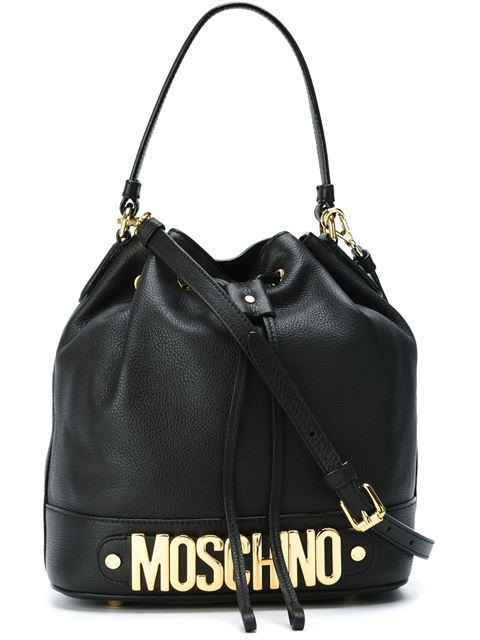 Moschino 'Letters' Leather Bucket Bag In Black
