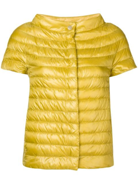 Herno Short-sleeved Padded Jacket In Yellow