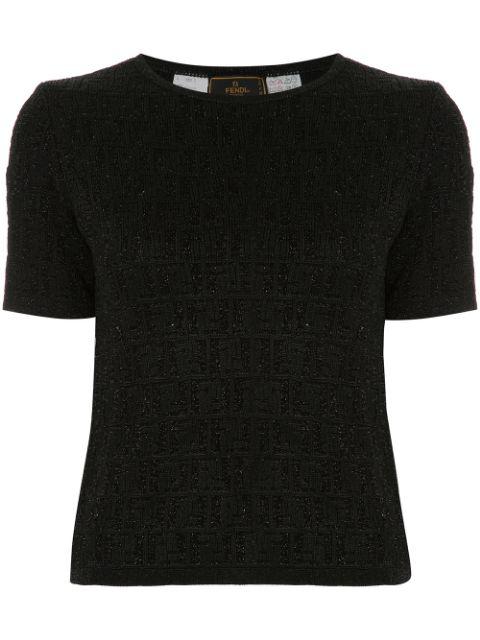 Pre-owned Fendi Short Sleeve Top In Black