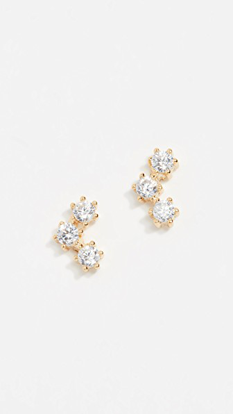 Shashi Trinity Stud Earrings In Gold/clear