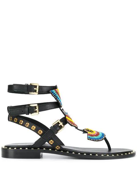 Ash Beaded Flat Sandals In Black