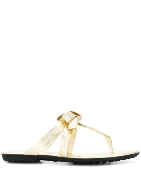 Tod's Toe Post Sandals In Gold