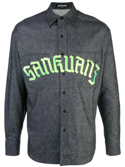 Sankuanz Logo Print Denim Shirt In Black