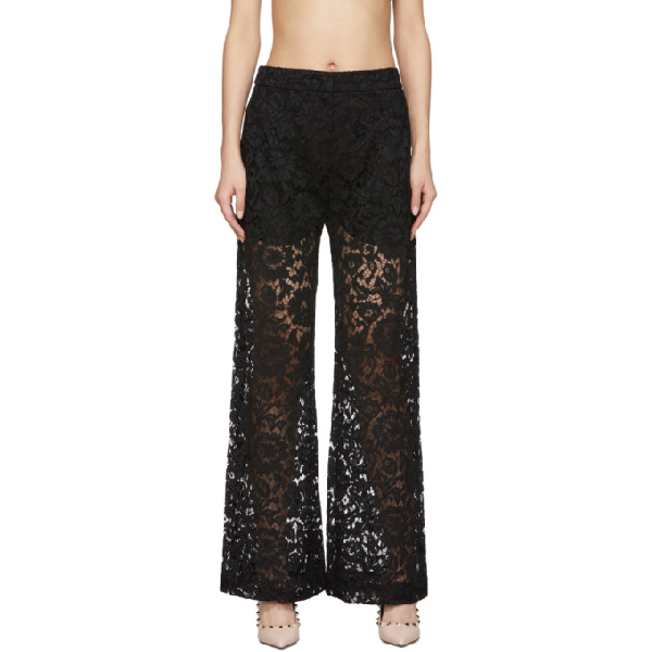 Valentino Satin-trimmed Corded Lace Wide-leg Pants In 0no Nero