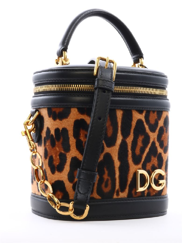 Dolce & Gabbana Bucket Bag Animal Print In Brown