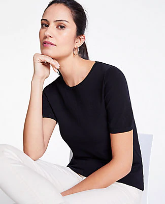 Ann Taylor Petite Short Sleeve Sweater In Black