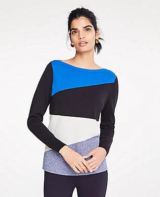 Ann Taylor Petite Colorblock Boatneck Sweater In Aegean Sea Blue