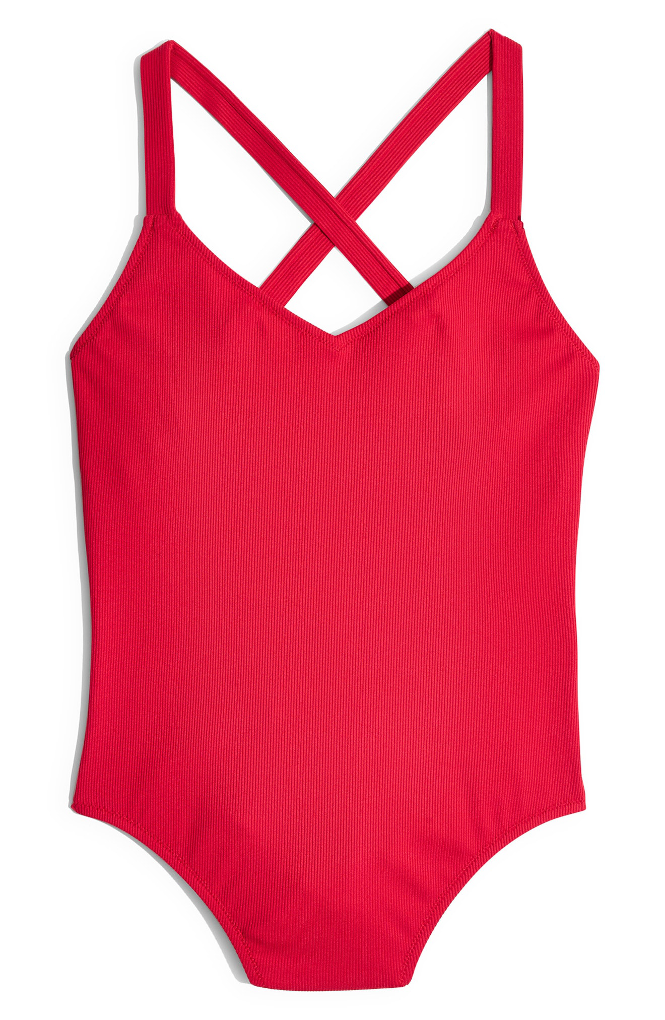 81963a8f28f Madewell Second Wave Ribbed Ruffle-Strap One-Piece Swimsuit In Afterglow Red