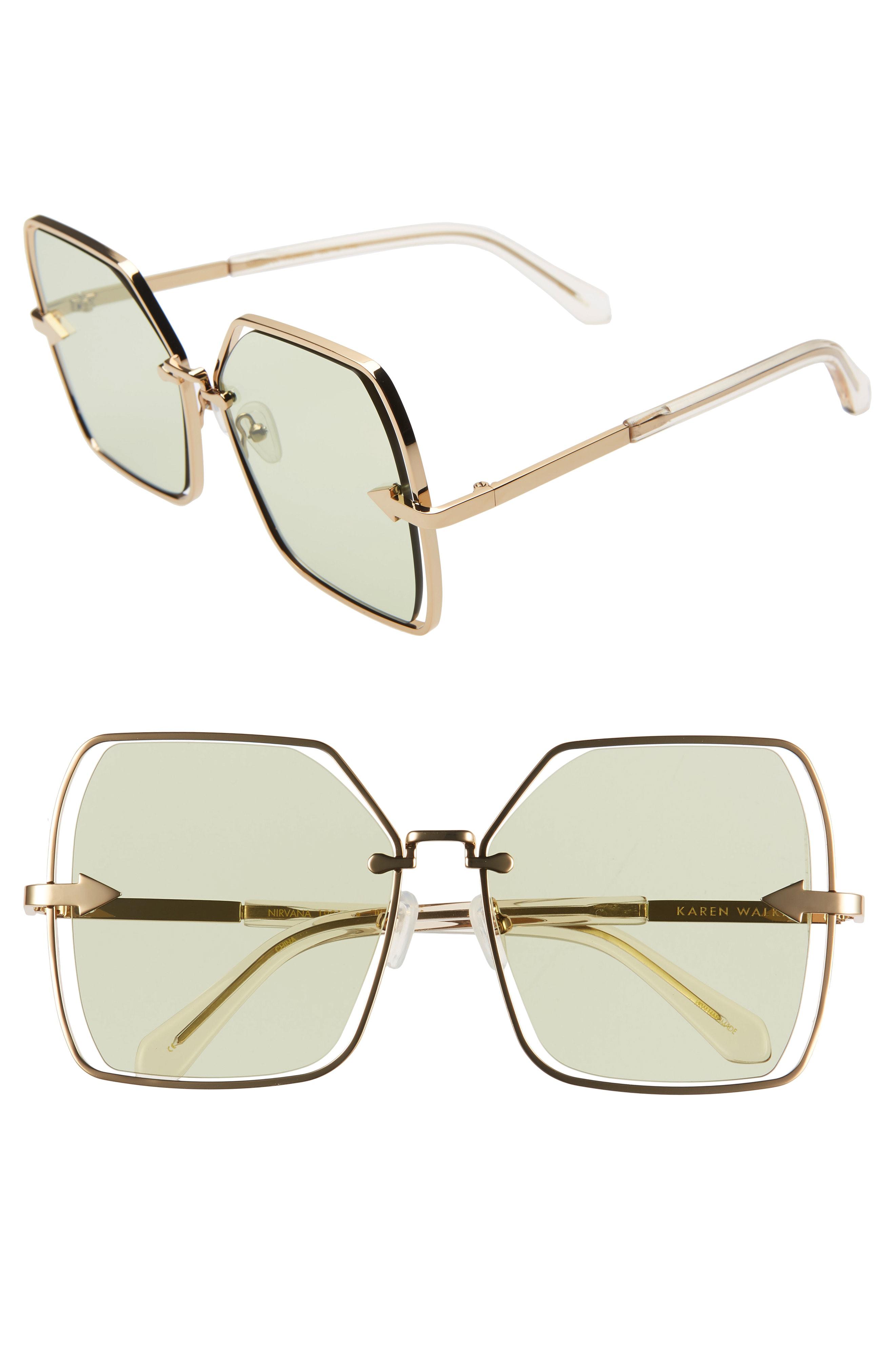 6ce760e4bd Karen Walker Nirvana 58Mm Square Butterfly Sunglasses - Gold/ Sage Tint
