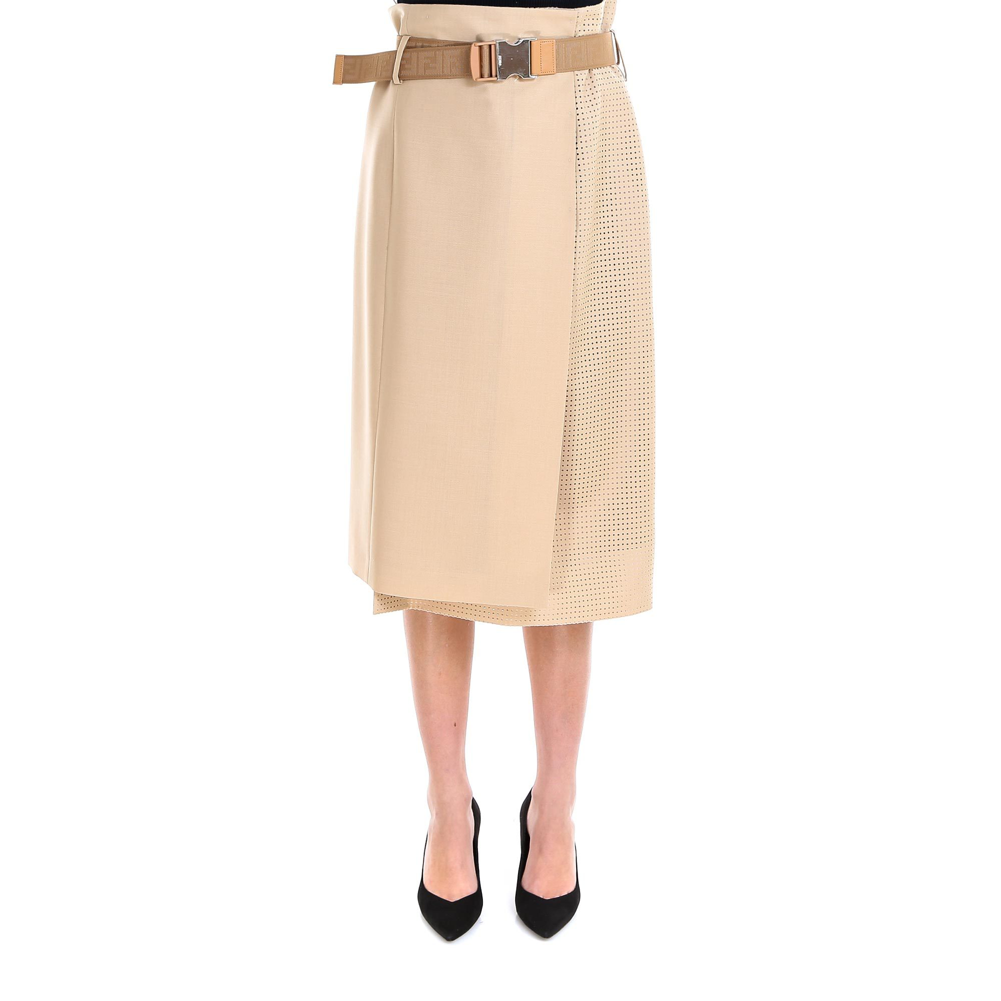 8d687d26308d02 Fendi Belted Midi Skirt In Beige | ModeSens