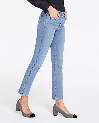 ec2f788ce0 Ann Taylor Petite Straight Crop Jeans In Mid Indigo Wash In Mid ...