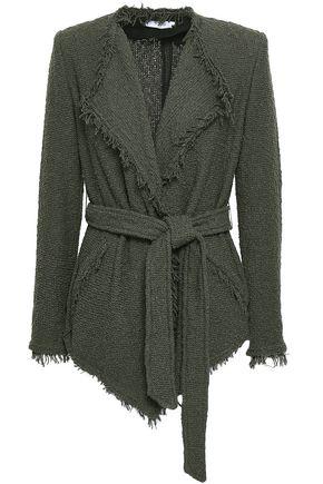 Iro Woman Schala Belted Frayed Cotton-Blend Bouclé Jacket Army Green