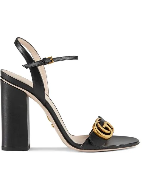 Gucci Marmont 105 Leather Sandals In Black