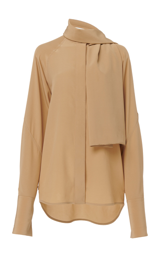 Victoria Beckham Tie-neck Silk-crepe Blouse In Brown