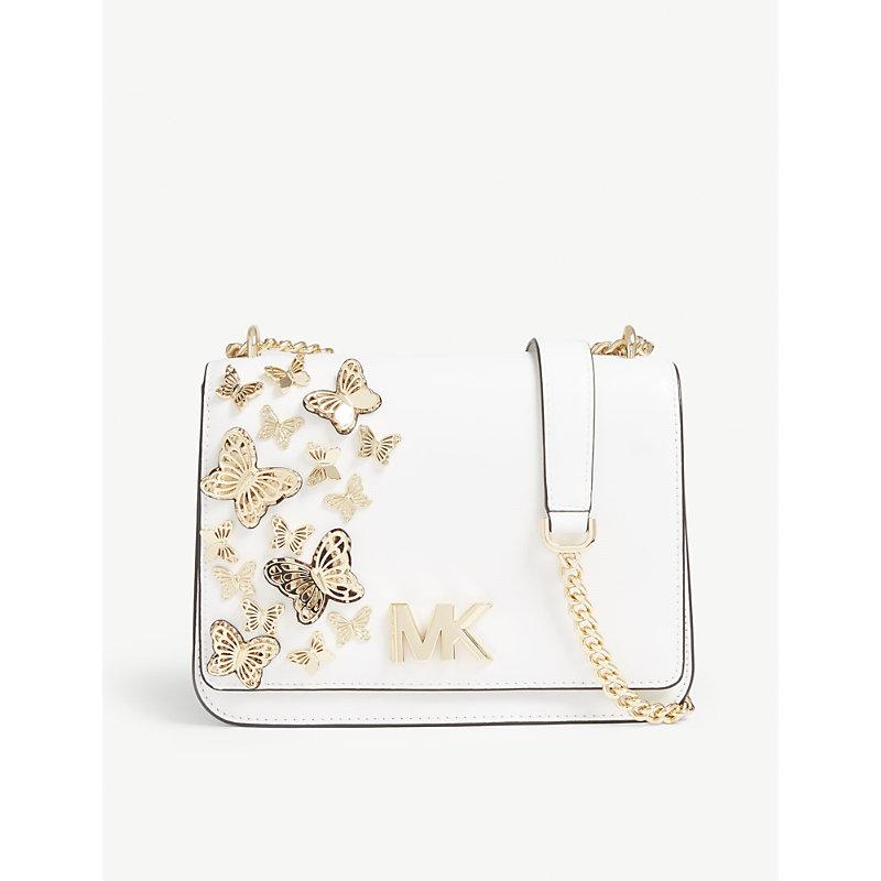 342f1e7435e8fd Michael Michael Kors Mott Butterfly Leather Cross-Body Bag In Optic White