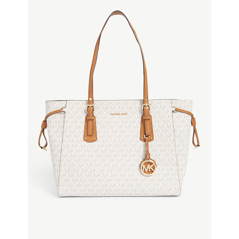 238a9bf2c40cea Michael Michael Kors Voyager Coated Canvas Tote In Vanilla   ModeSens