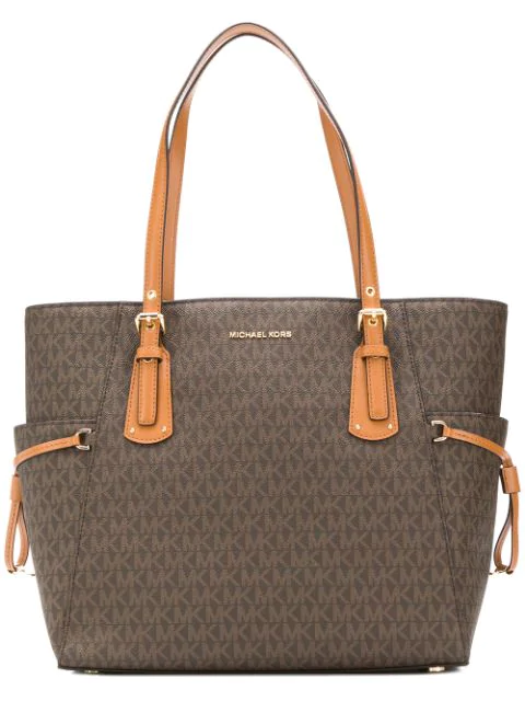 Michael Michael Kors Voyager Small Coated Canvas Tote In Brown