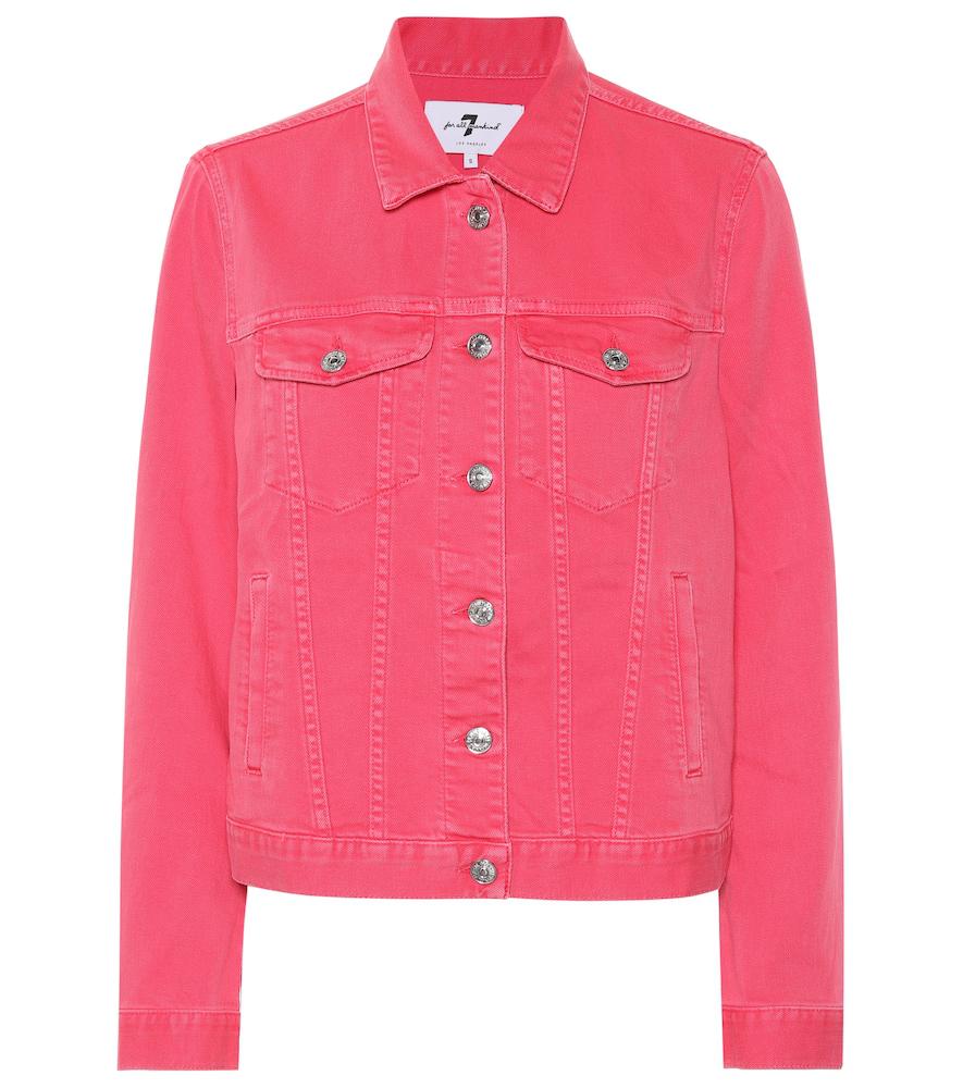 7 For All Mankind Modern Trucker Denim Jacket In Pink