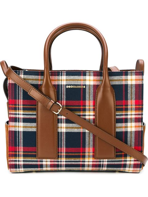 Dsquared2 Twin Peaks Red And Blue Plaid Shoulder Bag In Multicolour