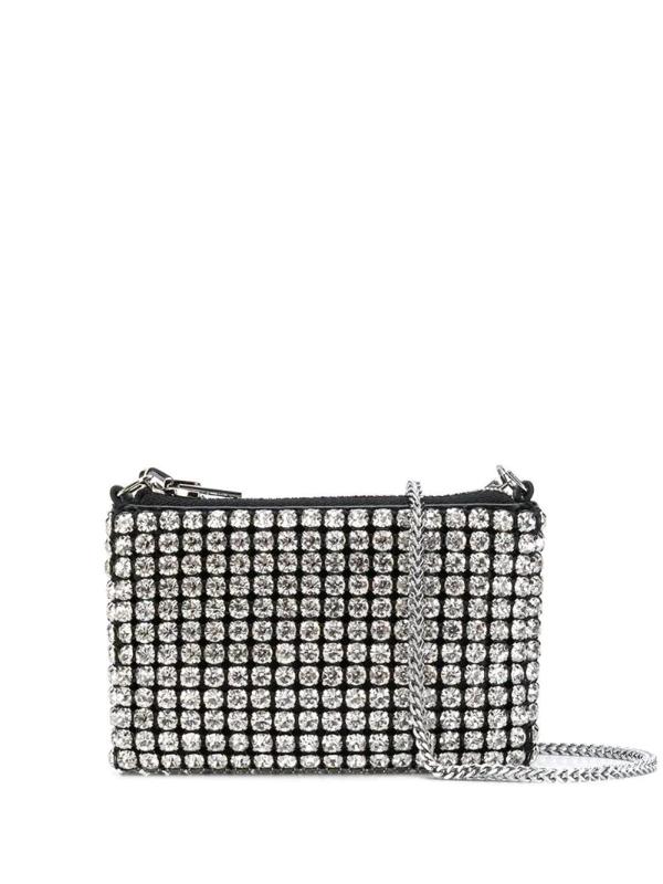 Alexander Wang Mini Wangloc Crystal-embellished Crossbody Bag In White