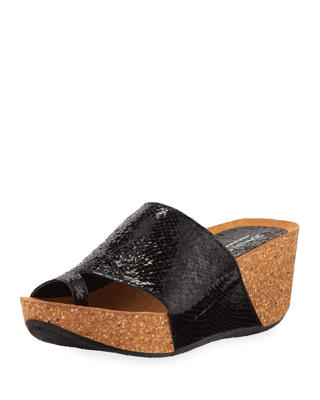 48498d75c5a Donald J Pliner Ginie Metallic Snake-Print Leather Wedge Slide Sandals In  Black Snake Print