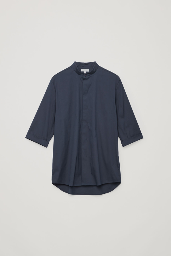 Cos 3/4-sleeved Grandad Shirt In Blue