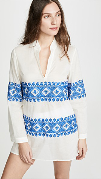 Tory Burch Stephanie Embroidered Cover-Up Tunic In New Ivory/Bondi Blue