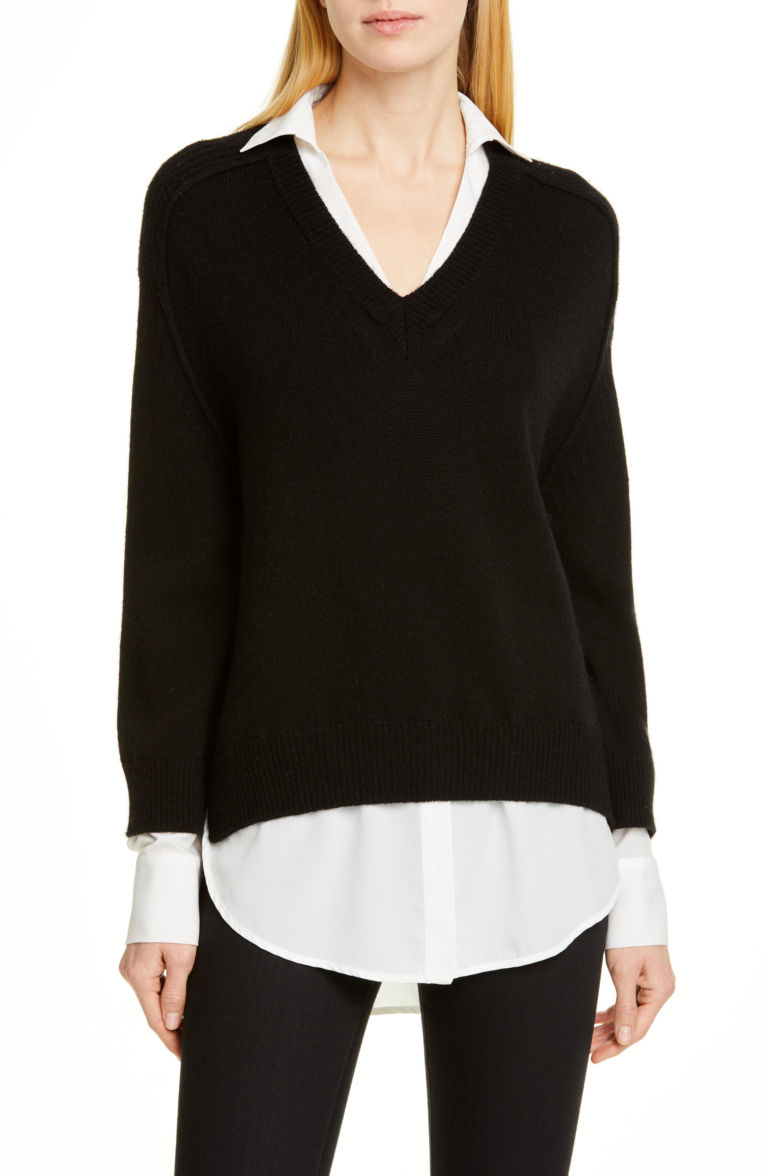 bbe02a0613d1 Brochu Walker Wool   Cashmere Layered Pullover In Black Onyx