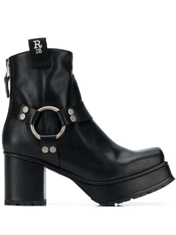 160d47c56f9 R13 Leather Platform Ankle Boots In Black