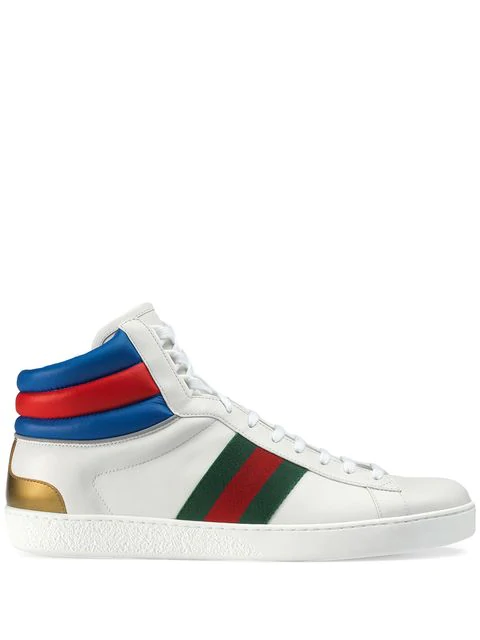 Gucci Men's Shoes High Top Leather Trainers Sneakers Ace In White