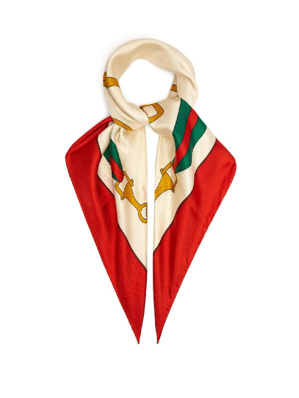 Gucci Stirrup And Web Stripe-print Silk Scarf In Red