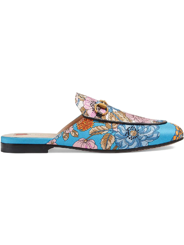 feb3db56a88 Gucci Princetown Canvas Slippers In Blue
