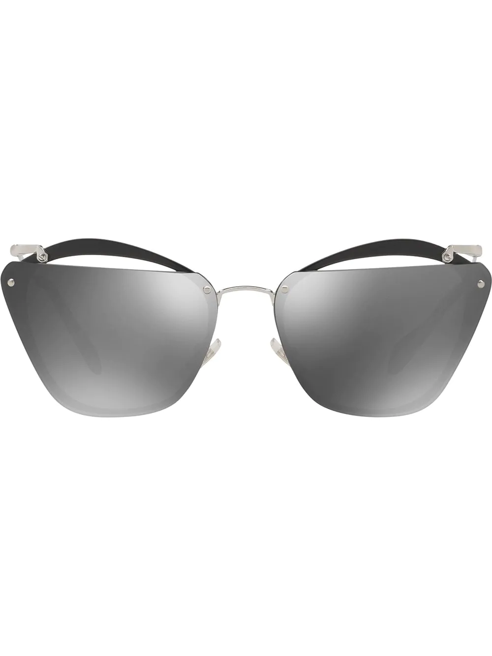 a08eaebf2bc7 Miu Miu Eyewear Cut-Out Mirrored Lenses - Black. Farfetch