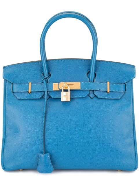 Pre-owned Hermes Birkin 30 Hand Bag Courchevel In Blue