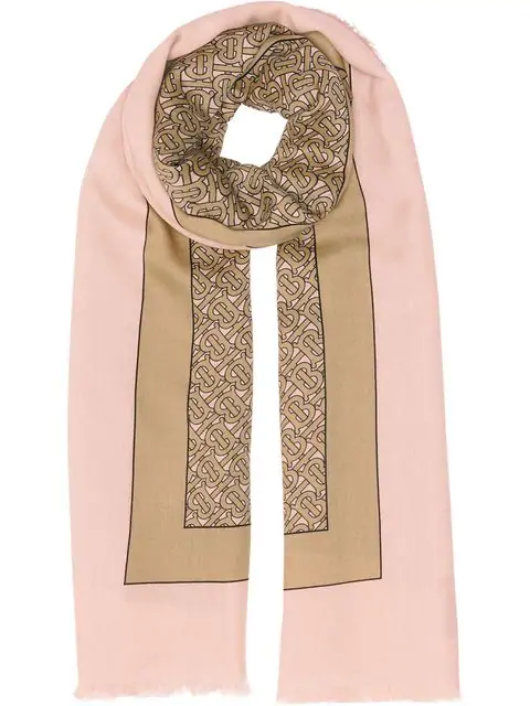 Burberry Monogram Print Lightweight Cashmere Scarf In Pink