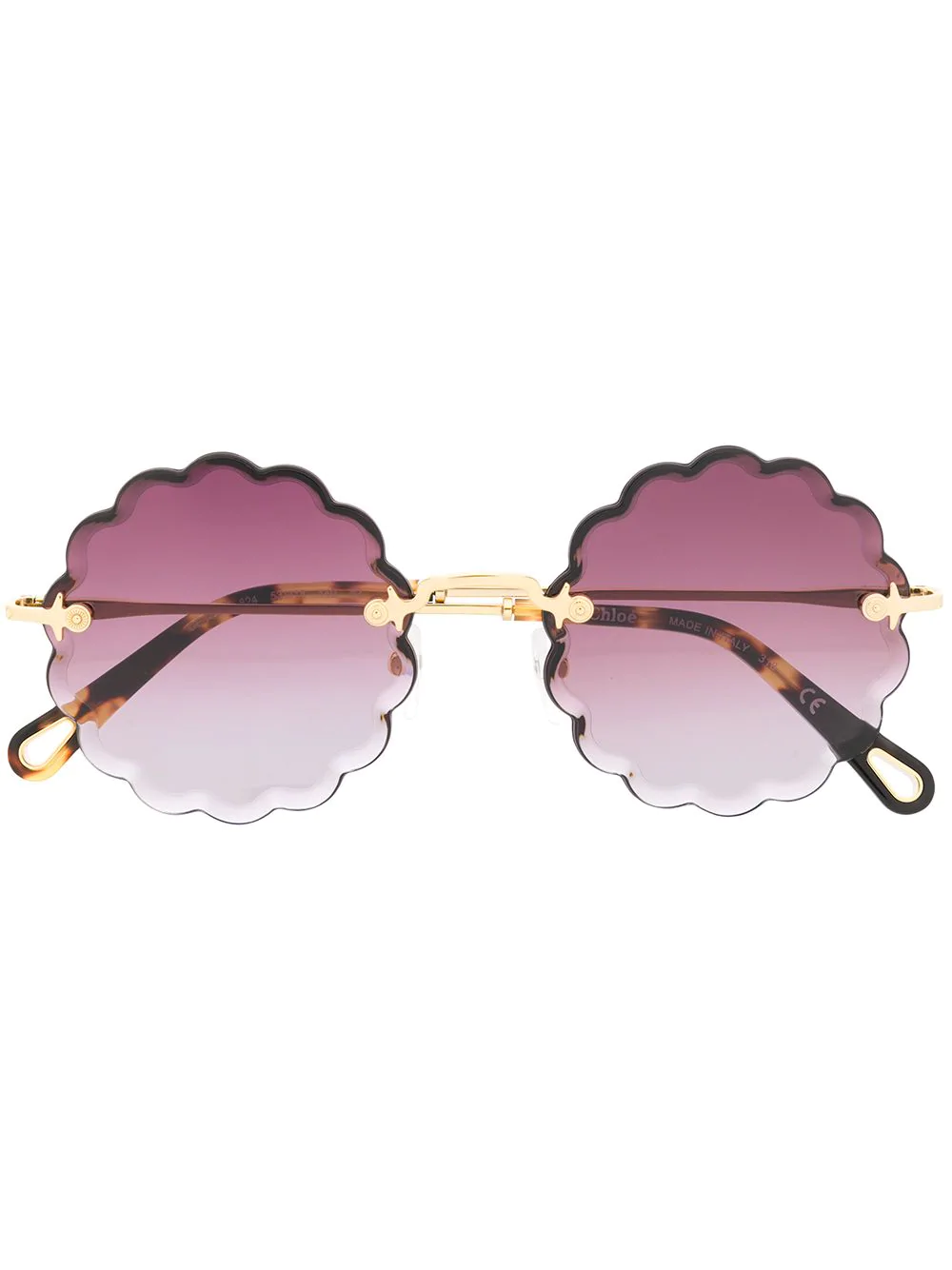 ff2bb30876f Gold-tone titanium scalloped edge sunglasses from Chloé Eyewear featuring  gradient lenses