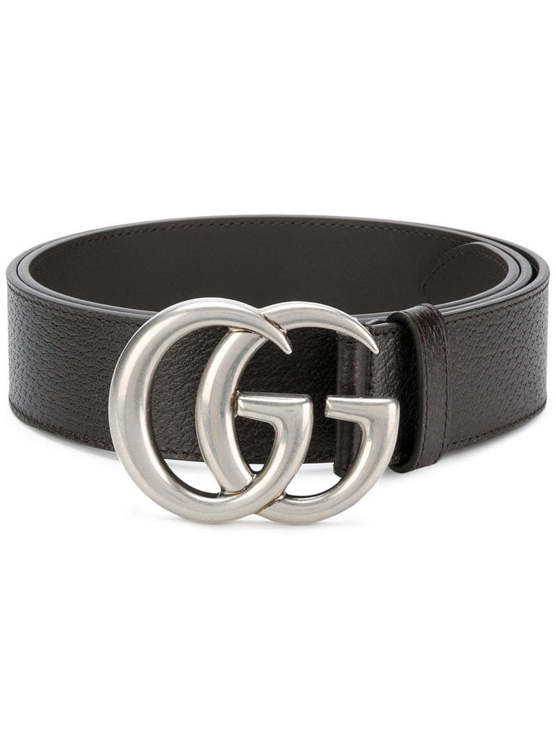 4947edfedee Gucci Men s Leather Belt With Silvertone Double-G Buckle In Black ...