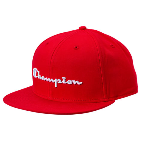 Champion Script Bb Snapback Hat In Red Modesens