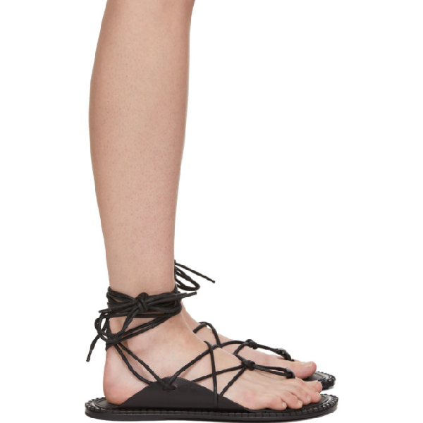 Ann Demeulemeester 10Mm Lace-Up Leather Sandals In Black