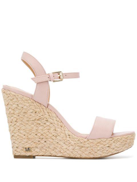 Michael Kors High Wedge Heel Sandals In Pink