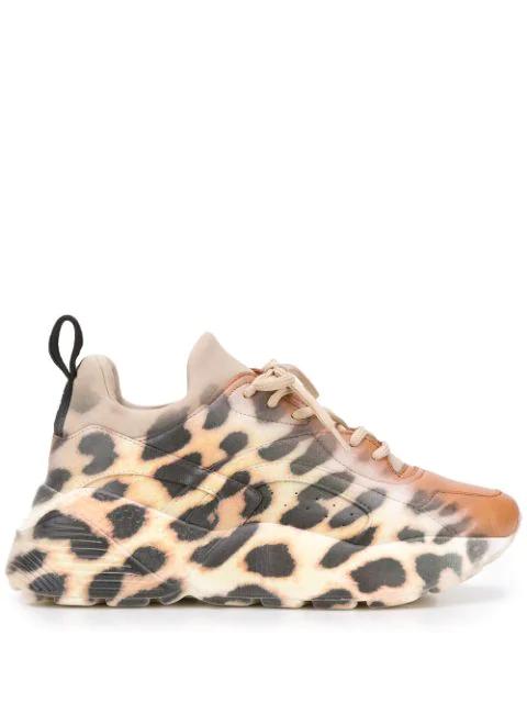 Stella Mccartney Eclypse Neoprene-Trimmed Leopard-Print Faux Leather Sneakers In 9878 Nut/Gr/Bk-Wh/Bk/M.A.F