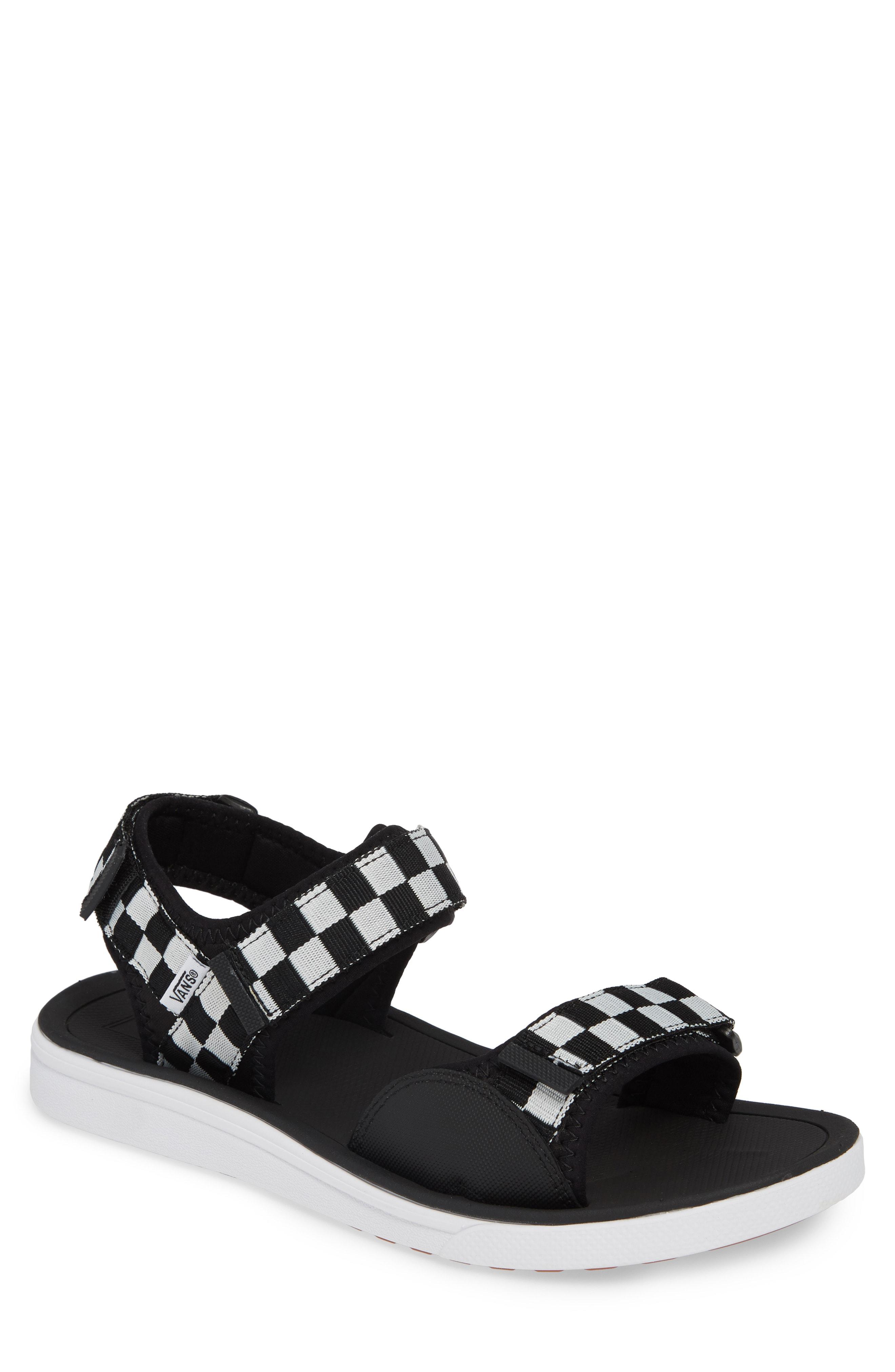 65a749250d21 Vans Ultrarange Tri Lock Sport Sandal In Black  True White Checkerboard